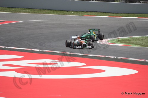 Paul Di Resta and Giedo van der Garde qualifying for the 2013 Spanish Grand Prix