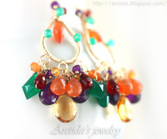 Oksana - Gemstone earrings with Amethysts, Carnelians, Citrines, Garnets and green Agates. Handmade artisan jewelry by Arctida. (Arctida) Tags: autumn wedding red summer orange green fall texture agate beautiful fashion yellow contrast gold design spring amazing rainbow wire women colorful pretty purple sweden handmade burgundy ooak gorgeous magic awesome victorian violet vivid style wrapped jewelry tribal jewellery collection international trends exotic lilac statement romantic handcrafted accessories sverige earrings amethyst chic lovely oriental boho ethnic emerald luxury couture eclectic bohemian avant garde opulent artisan personalized haute pagan garnet intricate luxurious citrine birthstone gemstone carnelian arctida