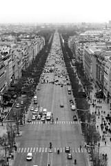 Avenue des Champs-lyses from above (N Ackers) Tags: road street city blackandwhite bw paris france cars monochrome outside view fromabove lookingdown champslyses avenuedeschampslyses