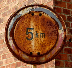 Rusty 5km Sign (greenoid) Tags: red sign speed circle square rust rusty round limit 5km buchholz nordheide