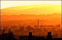 Evening light on the hills (ronramstew) Tags: light mountains landscape evening scotland angus grampians hills valley forfar strathmore roofline mygearandme mygearandmepremium blinkagain