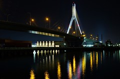 Bridge (JanneM) Tags: longexposure bridge reflection water japan night jan harbour aomori   tohoku platser janne  objekt moren mnniskor k5iis