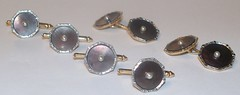 Art Deco Style Cufflink & Studs Set (Vic's Estate and Fine Jewelry) Tags: art yellow gold pearls 14k abalone deco tux studs cufflinks