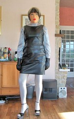 Shiny outfit (Tatiana Romanova) Tags: white black leather female tv high shiny doll highheels dress mask cd vinyl rubber gloves blonde transvestite heels latex satin crossdresser crossdress gurl pvc stilettos rubberdoll latexmask femalemask emeraald