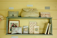 shelf (found and sewn) Tags: vintage display handmade lace craft exhibition homemade purse openstudio artweeks clutchpurse foundandsewn
