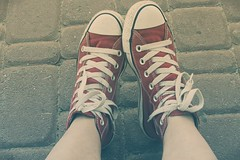 red converse (Still.Loony) Tags: red cold self cool shoes soft legs pastel sneakers sharp converse simplicity crossprocessing processing editing keds lowcontrast lowsaturation toning canonpowershotsx40hs