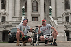 High Rollers (local paparazzi (isthmusportrait.com)) Tags: old windows portrait playing men classic boys sunglasses metal architecture composition children outside happy prime lights iso100 cool pod aperture downtown raw ride background candid awesome wheels columns steps strangers hats posed police shades historic transportation dome granite vehicle scooters neat madisonwi framing rollers dudes pillars bros iconic epic handlebars afs alloy statehouse monumental autofocus statecapital aperturepriority isthmus epicday 2013 nikond90 danecountywisconsin photoshopelements7 pse7 50mm14g bestphotographever localpaparazzi cellphonephotographers redskyrocketman lopaps 365projectalternate 608strangers vitrebouniversity