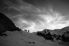 End of the Day (gomezthecosmonaut) Tags: newzealand sky snow silhouette clouds climbing bouldering castlehill samyang14mmf28