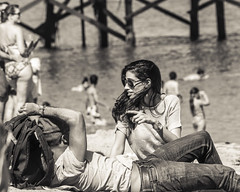 Look, they have swimsuits... (micadew) Tags: ocean street people blackandwhite beach beautiful beauty interesting candid watching streetphotography flirting babes brunette flirty blackhair peoplewatching twosome paradisecove micadew