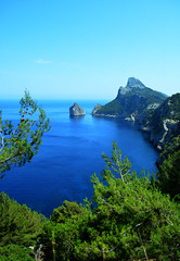 275/365. The cape Formentor (Brasilian cat) Tags: world morning travel blue sea summer sky white mountain color tree green nature water rock relax spain mood creative pointofview cape mallorca formentor