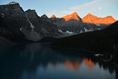moraine lake (eqdwei) Tags: moon mountain lake canada reflection sunrise alberta rockymountain banff morainelake