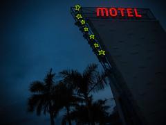 Star Motel sign (dannyfowler) Tags: city fab sign architecture night america hotel evening mod 60s neon unitedstates florida miami motel mimo front historic retro palmtrees signage fl 50s modernist midcentury