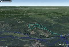 Google Earth Image of Merlin Loop Snow Walk in Black (benlarhome) Tags: winter foothills snow canada cold ice trekking trek kananaskis rockies loop hiking hike alberta rockymountain hiker wandern braggcreek westbraggcreek merlinview
