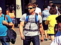 (ManontheStreet2day) Tags: boy male guy ass sunglasses chest butt tshirt hunk crotch twink jeans backpack bluejeans biceps stud bulge