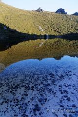 20150206-75-Reflections at Lake Cygnus (Roger T Wong) Tags: mountains reflection water trek outdoors nationalpark walk australia pebbles hike tasmania np bushwalk quartzite tramp wha 2015 southwestnationalpark westernarthurs canonef24105mmf4lisusm canon24105 lakecygnus canoneos6d westernarthurrange rogertwong