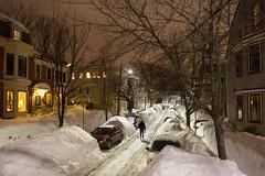 Walking, Cambridgeport (metroblossom) Tags: cambridge snow man night walking massachusetts cambridgeport img2879 postblizzard
