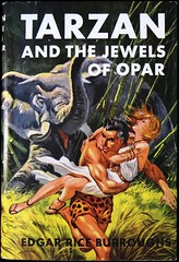 """""""Tarzan and the Jewels of Opar"""" by Edgar Rice Burroughs. NY: Grosset & Dunlap, (1950). Reprint Edition. Dust Jacket by C. E. Monroe (lhboudreau) Tags: elephant illustration book drawing coverart illustrations drawings books burroughs atlantis bookcover apeman 1950 tarzan edgarriceburroughs hardcover dustjacket reprint damselindistress reprints erburroughs hardcovers hardcoverbooks opar cheapbooks damselsindistress hardcoverbook grossetdunlap jewelsofopar reprintedition dustjacketart ladyinperil tarzanandthejewelsofopar cemonroe cedmundmonroe reprinteditions inexpensivebooks"""