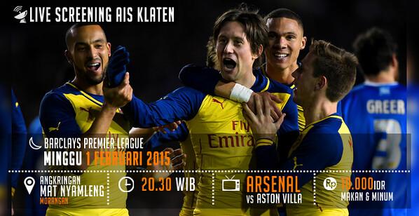 Arsenal Klaten #AIS @AIS_KLT: #LiveScreening Aston Villa vs Arsenal | Minggu 1/2/2015 | Jam 20.30 WIB | Angk.Mat Nyamleng | HTM 10K | @kabarklaten s8Nj4sTXdxo