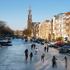 Dutch ice-skaters on the Prinsengracht (B℮n) Tags: winter people cold holland ice netherlands dutch amsterdam bike geotagged frozen topf50 downtown iceskating skating joy kinderen nederland freezing first canals age skate prinsengracht temperature topf100 mokum occasion rare grachten pleasure skates blades winters stad harsh jordaan 2012 bycicle westertoren d66 ijs gluhwein schaatsen koud westerkerk amsterdamse ijspret hendrick chocolademelk grachtengordel hollandse oudhollands 100faves 50faves gekte winterse sferen avercamp ijzers ijsplezier jordanezen ijsnota