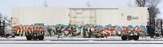 Ghoul/Wyse/Nekst/Jerms (quiet-silence) Tags: railroad art train graffiti railcar unionpacific graff d30 freight reefer ghoul nekst armn fr8 endtoend jerms wyse e2e a2m armn110902