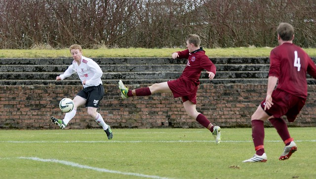 Bankies sub Stevie Gardiner delivers the ball into the danger zone