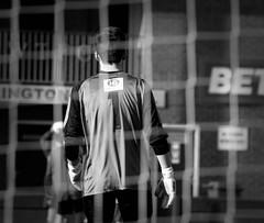 (tom_greaves) Tags: blackandwhite net monochrome shirt canon one mono 1 football goal warrington cheshire telephoto kit goalkeeper nonleague amateursport canon400d warringtontownfc cheshireleague