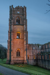 the tower at dusk (ginger_scallywag) Tags: xmas uk trees winter england lake tree tower abbey silhouette photoshop canon picnic dusk deer swans watergarden georgian fountains nationaltrust northeast stmaryschurch christmascake cs6 templeofpiety octagontower fountainshall eos40d moonpond tamron17300