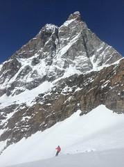 Skiing Under the Matterhorn (Crystal Ski) Tags: blue winter sky cloud mountain snow ski bird climb holidays skiing view crystal 14 peak 15 glacier thomson zermatt matterhorn bluebird overlook finest cervinia 2014 crag cervino 2015