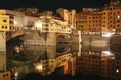 nights in Florence (marin.tomic) Tags: city travel italien light urban italy architecture night reflections river florence nikon europe italia nightshot tuscany firenze arno toscana pontevecchio florenz toskana d40