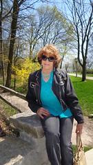 Out-And-About With Laurette On A Friday (Laurette Victoria) Tags: woman sunglasses spring auburn jeans jacket purse milwaukee denim lakepark laurette
