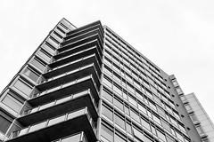 Upward Building (pillarsoflight) Tags: blackandwhite bw cloud white black monochrome beauty oregon skyscraper 35mm portland prime grey aperture nikon adobe pdx desaturated condos 18 pnw lightroom patios d3300