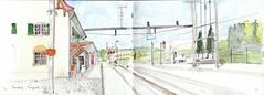 s14_70-71a (http://eyequake.blogspot.ch/) Tags: schweiz ostschweiz bahnhof zeichnung aquarell hauptwil kantonthurgau