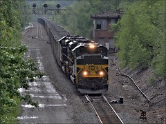 590 by AR (Images by A.J.) Tags: railroad bridge light tower heritage train pittsburgh ar pennsylvania ns norfolk line southern pa erie coal signal freight position prr emd gallitzin sd70ace