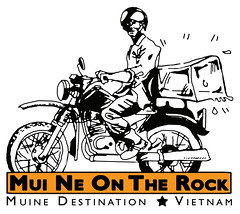 mui ne on the rock (alaxyzel) Tags: tourism ice rock illustration bay design asia helmet cartoon tshirt vietnam motorbike irony delivery destination muine xeom