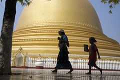 Woman and child silhouetted against the Kaunghmudaw Pagoda, Saga (JJ Doro - Bangkok) Tags: people silhouette walking asian gold golden pagoda asia seasia child walk burma silhouettes silouette myanmar mm burmese silhouetted mandalay sagaing peoplewalking kaunghmudaw myanmarpeople