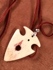 arrowhead, made from elk skull bone (Yari RB) Tags: leather necklace arrowhead amulet alphamaleseries madefromelkskullbone