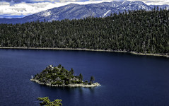 Tahoe's Only Island (Pesky Design) Tags: california travel blue trees usa snow mountains nature water photoshop canon islands spring lakes scenic laketahoe wallart emeraldbay
