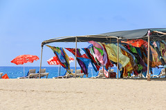 Side - colorful towels on the beach on the way to Manavgat (Romeodesign) Tags: sea summer holiday beach colors shop turkey coast sand mediterranean riviera sailing wind side urlaub trkiye shoreline trkei antalya towels peninsula turkish manavgat 550d pamphylian
