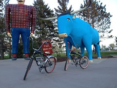 Photo Op in Bemidji with Paul and Babe (The Mac 3) Tags: bike sand mod paint engine kit 1960s modification install flyinghorse bicylce 2stroke beachcruiser rollfast