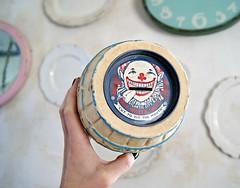 James Salt Water Taffy barrel bank (holiday_jenny) Tags: old cute vintage james clown barrel bank souvenir cardboard atlanticcity pulp saltwatertaffy papermache