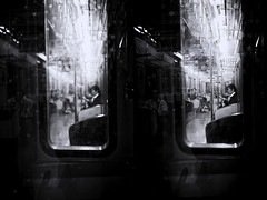 On Second Sight (Novowyr) Tags: city portrait people blackandwhite woman japan subway diptych kyoto candid clandestine unsuspecting