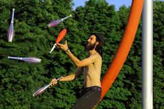 Alles unter Kontrolle (ploh1) Tags: person bewegung mann grn freiburg bume frhling freude jonglieren mensch keulen jongleur eschholzpark