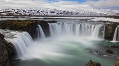 there are great wonders in the North (lunaryuna) Tags: longexposure nature water beauty season landscape waterfall iceland spring highlands rocks ngc drop le lunaryuna mountainrange snowcappedmountains goafoss rivergorge panoramicviews seasonalchange myvatnregion thecoloursoficeland centralnorthiceland