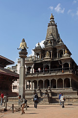69. Khrishna Mandir, Garuda Piller, Durbar Square, Patan City, Kathmandu Valley, Nepal (Jay Ramji's Travels) Tags: nepal temple kathmandu hindu patan garuda mandir kathmanduvalley durbarsquare piller patancity khrishnatemple khrishnamandir