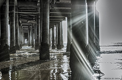Under Santa Monica's Pier (Priscila de Cssia) Tags: ocean california wood sea usa sunlight reflection beach pier nikon waves santamonica fineart highcontrast flare sunrays hdr nikond90