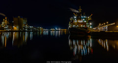 Docked (johnwilliamson4) Tags: adelaide flindersports industrial longexposure night outdoor portriver southaustralia transportationship wharf17 portadelaide reflections australia