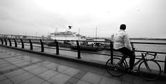 ship watcher (paul hitchmough photography) Tags: bw liverpool river ship biker rivermersey teamnikon cruseliners paulhitchmoughphotography