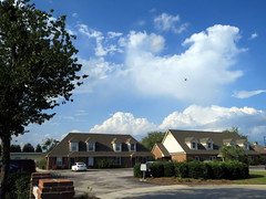 Blue Sky And Clouds Above Walnut Manor Apartments. (dccradio) Tags: trees sky cloud tree clouds nc northcarolina bluesky greenery cloudformation clearsky lumberton robesoncounty walnutmanorapartments