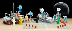 Updated Lunar Exploration Geological Outpost Ground Crew (billyburg) Tags: lego space lunar exploration geological outpost ll1923 surface skimmer suv utility vehicle hoverbot radar moon earth nasa classic benny spaceman spacewoman astronaut transyellow mutt play