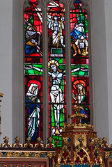 Christ in stained glass (quinet) Tags: germany 2012 castleroad burgenstrase